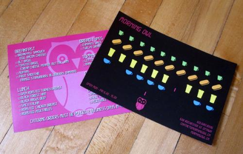 Morning Owl Coffeehouse Space Invaders Menu Cards